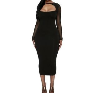 Naked Wardrobe Black Midi Dress with Mesh Accents